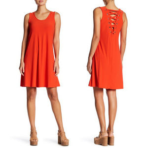 Spense Lace Up Tank Dress in Vivid Orange - Sz. 14